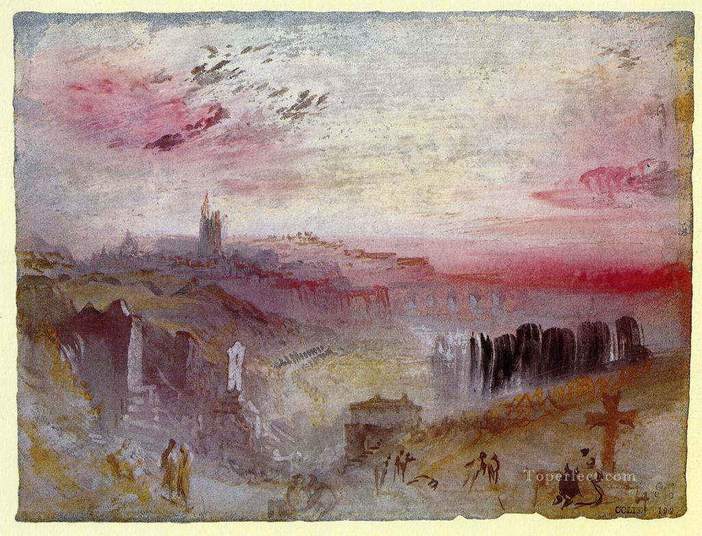 View over Town at Suset a Cemetery in the Foreground landscape Turner Oil Paintings