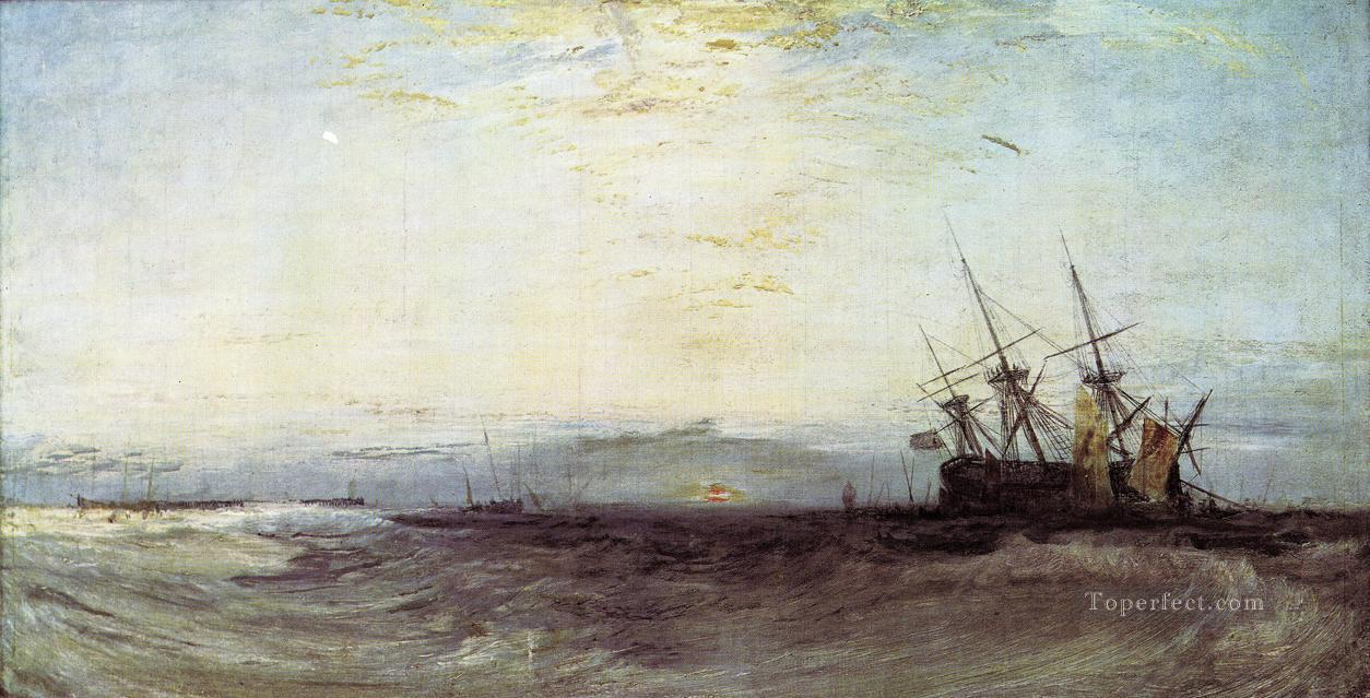 A Ship Aground Romantic Turner Oil Paintings