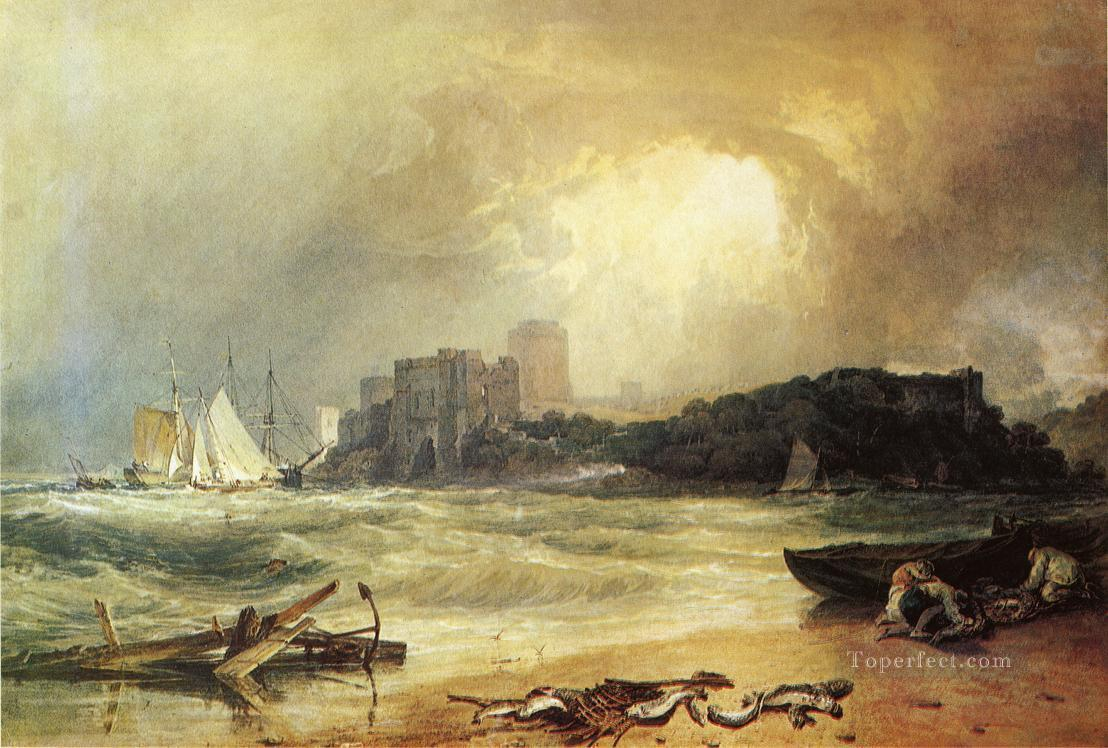 Pembroke Caselt South Wales Thunder Storm Approaching landscape Turner Oil Paintings