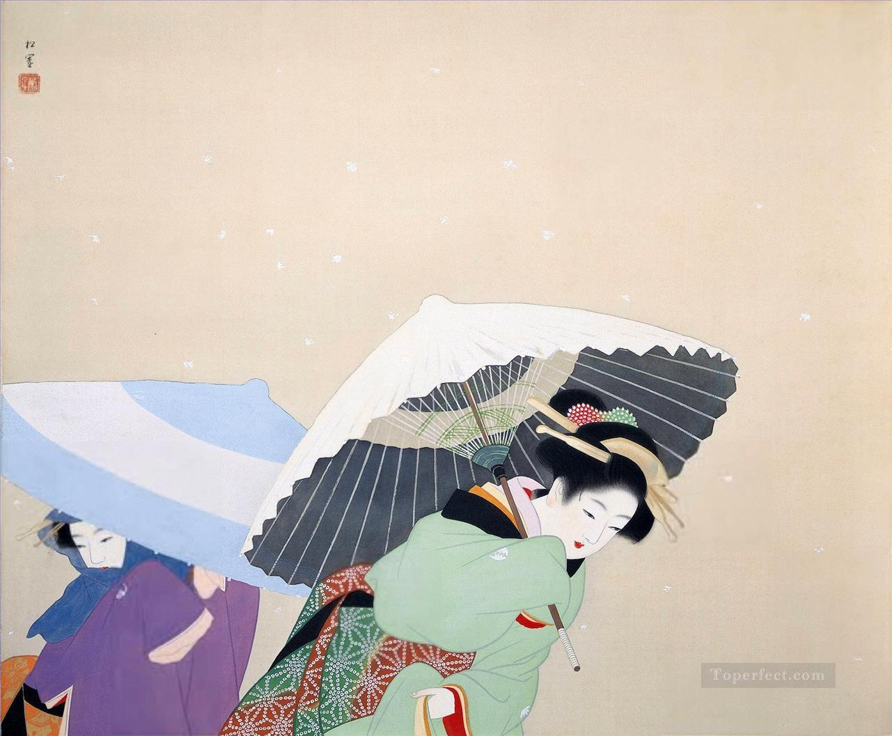 large snowflakes uemura shoen Uemura Shoen Bijin ga beautiful women Oil Paintings