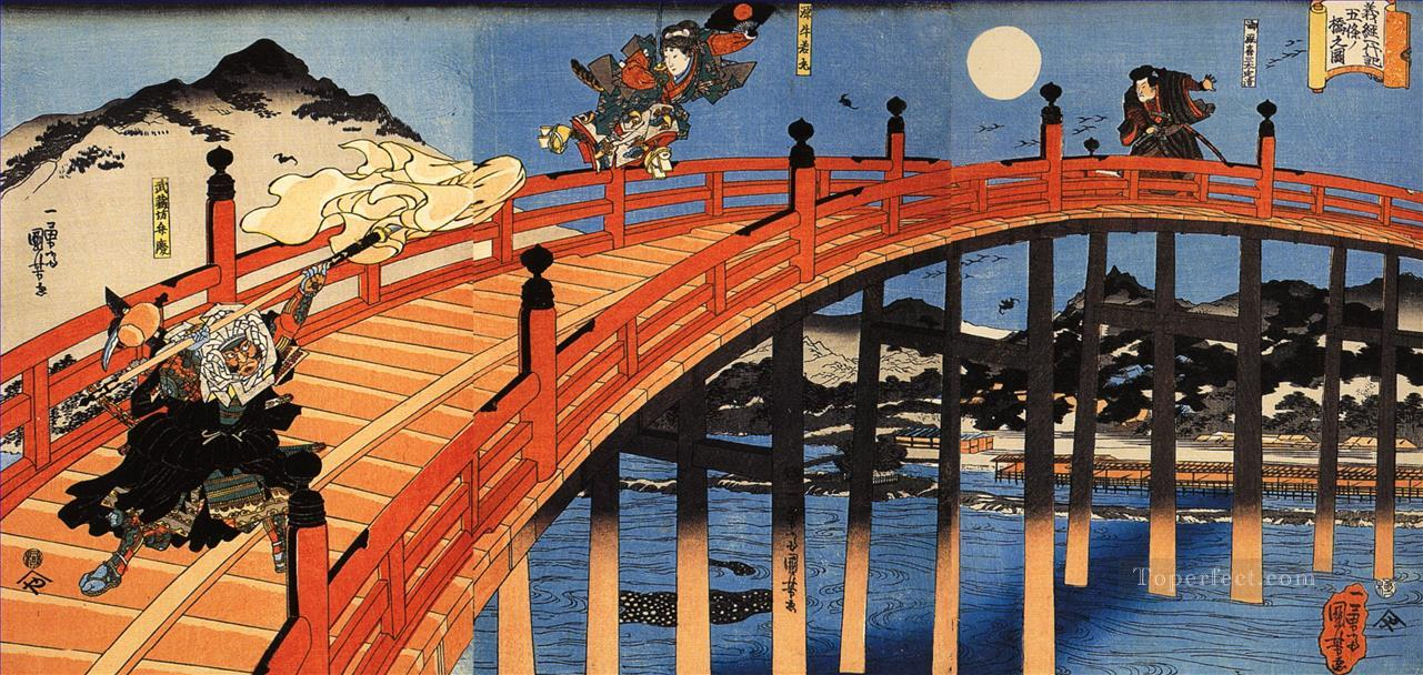 the moonlight fight between yoshitsune and benkei on the gojobashi Utagawa Kuniyoshi Ukiyo e Oil Paintings