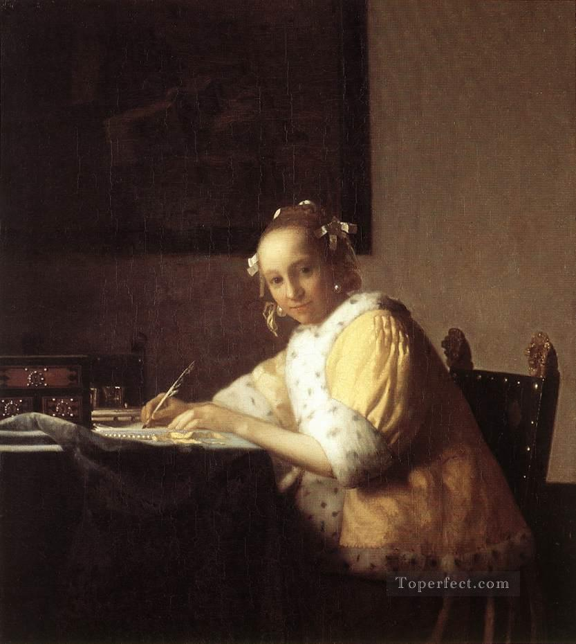 A Lady Writing a Letter Baroque Johannes Vermeer Oil Paintings