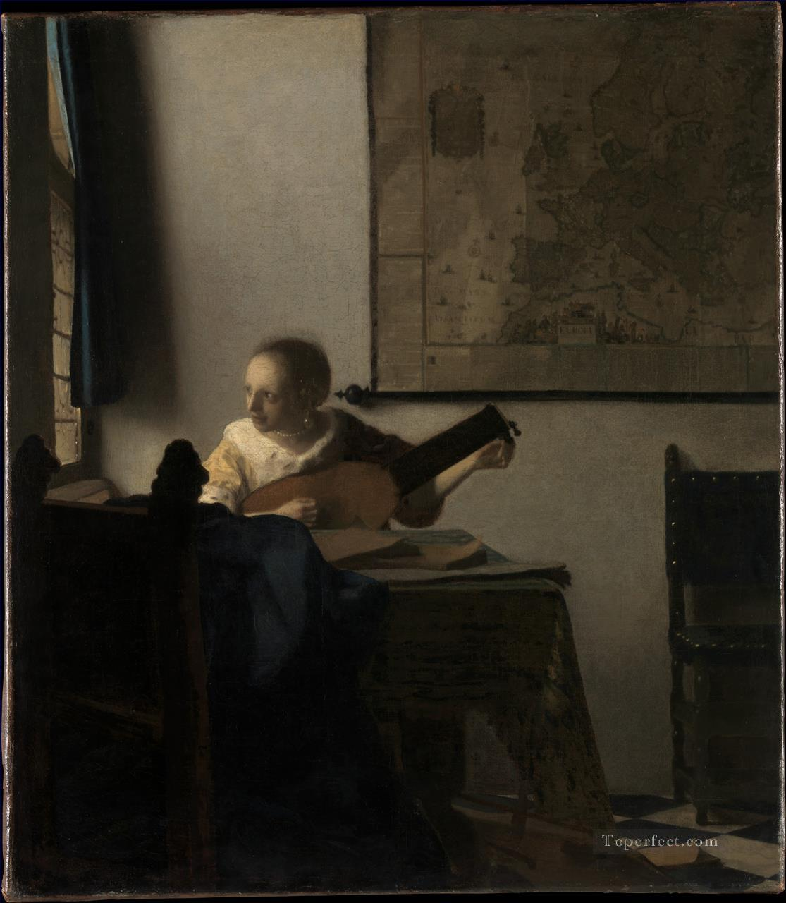 Woman with a Lute Baroque Johannes Vermeer Oil Paintings