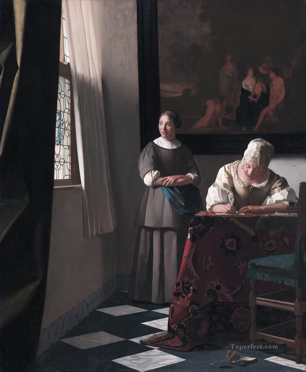 Lady Writing a Letter with Her Maid Baroque Johannes Vermeer Oil Paintings