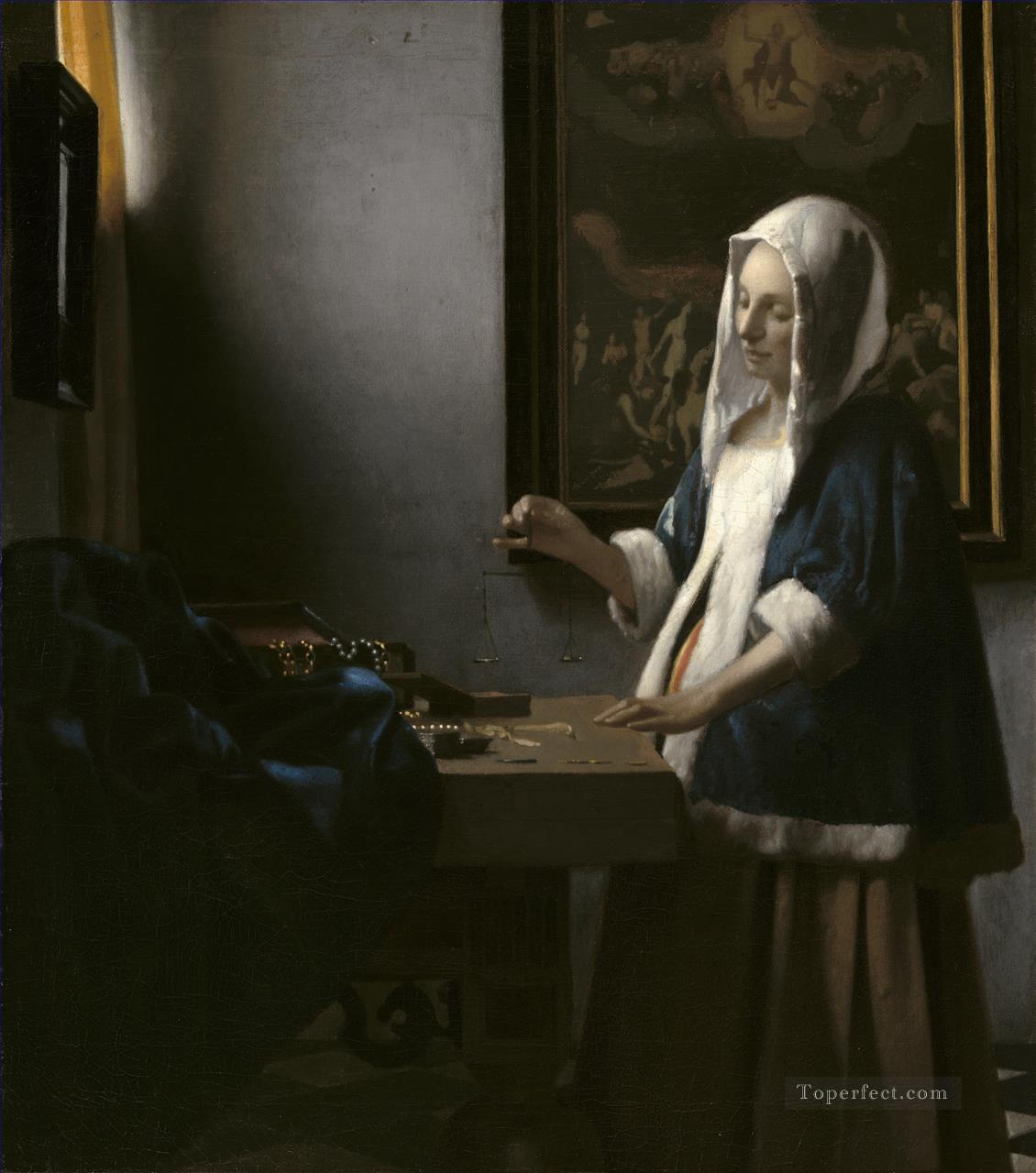 Woman Holding a Balance Baroque Johannes Vermeer Oil Paintings