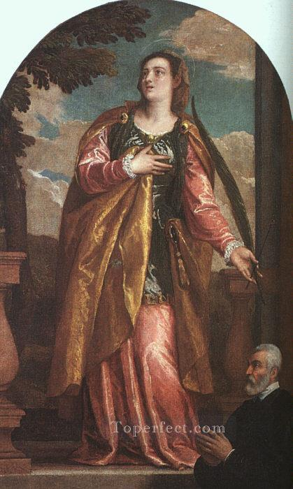 St Lucy and a Donor Renaissance Paolo Veronese Oil Paintings