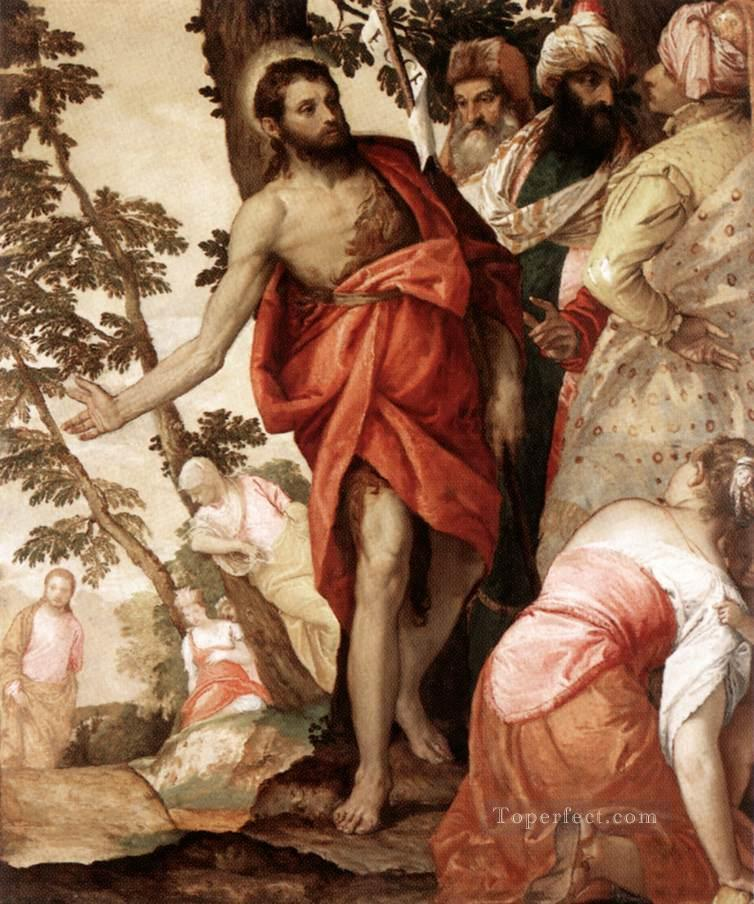 St John the Baptist Preaching Renaissance Paolo Veronese Oil Paintings