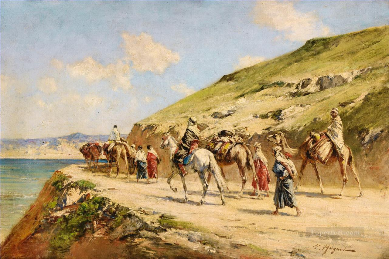 Cavaliers On A Path Victor Huguet Orientalist Oil Paintings
