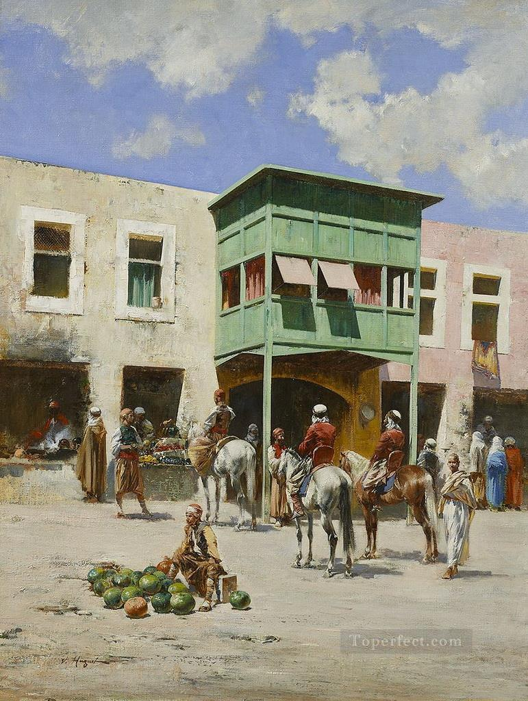 The turkish market Victor Huguet Orientalist Painting in Oil for Sale