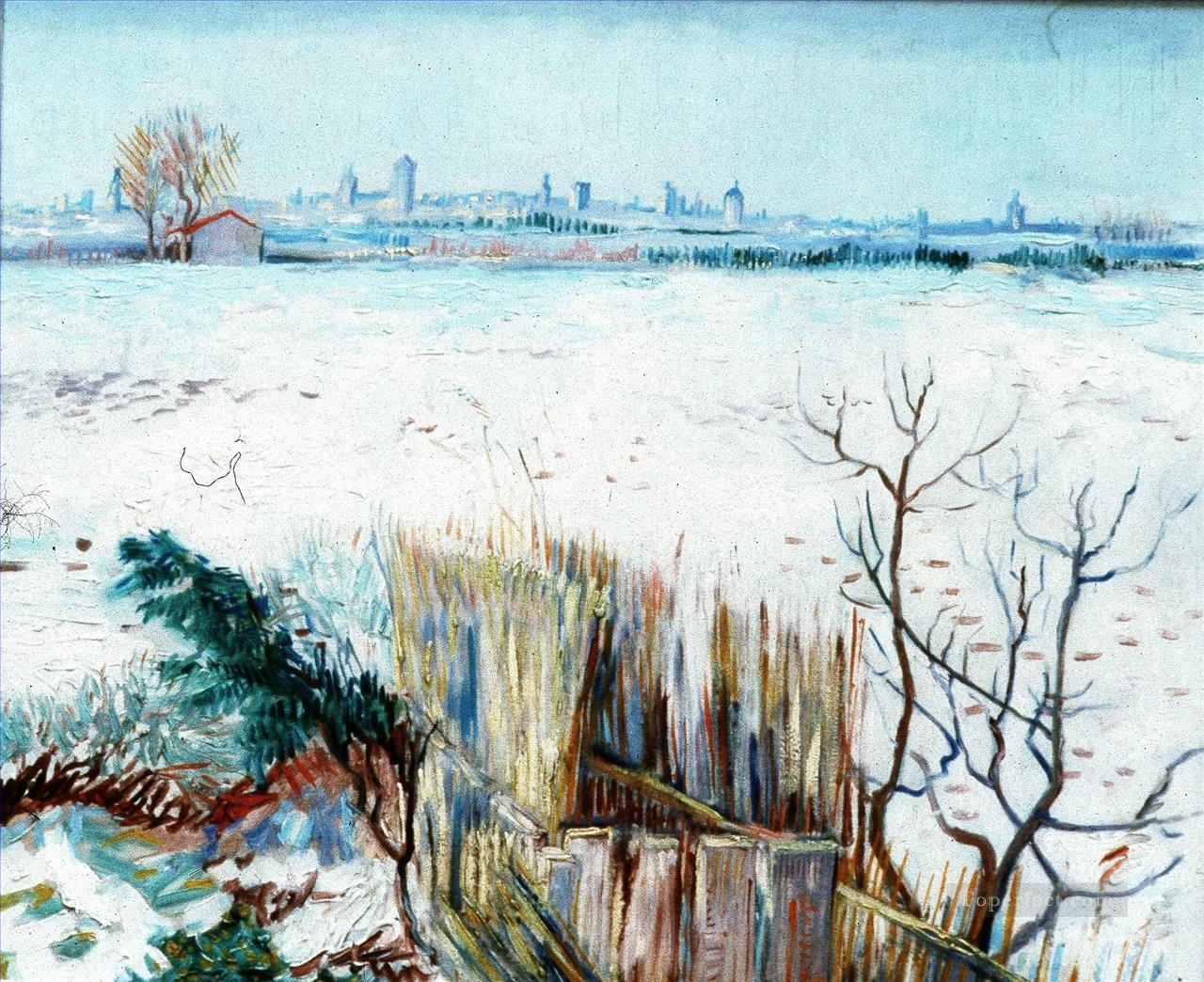 Snowy Landscape with Arles in the Background 2 Vincent van Gogh Oil Paintings