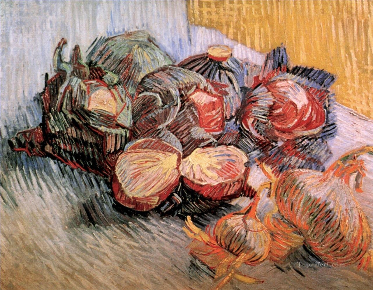 Still Life with Red Cabbages and Onions Vincent van Gogh Oil Paintings