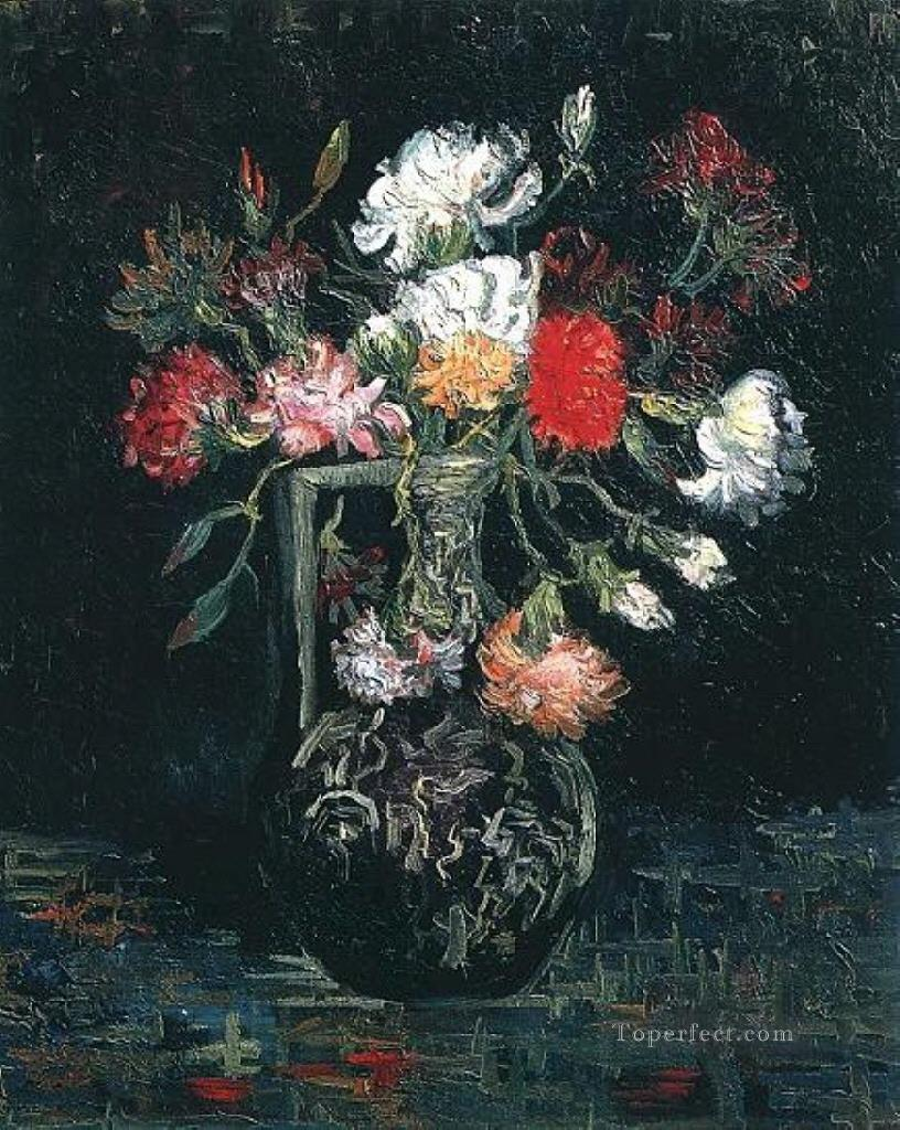 Vase with White and Red Carnations Vincent van Gogh Oil Paintings