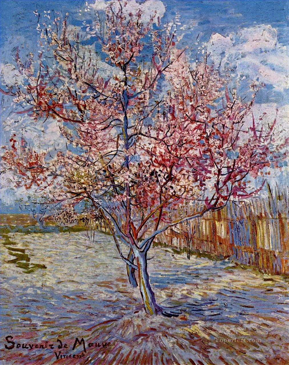 Peach Tree in Bloom in memory of Mauve Vincent van Gogh Oil Paintings