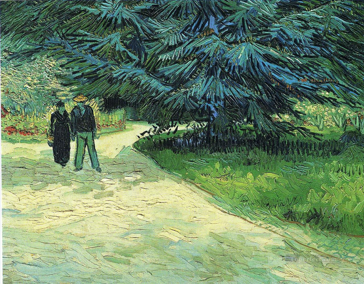 Public Garden with Couple and Blue Fir Tree Vincent van Gogh Oil Paintings