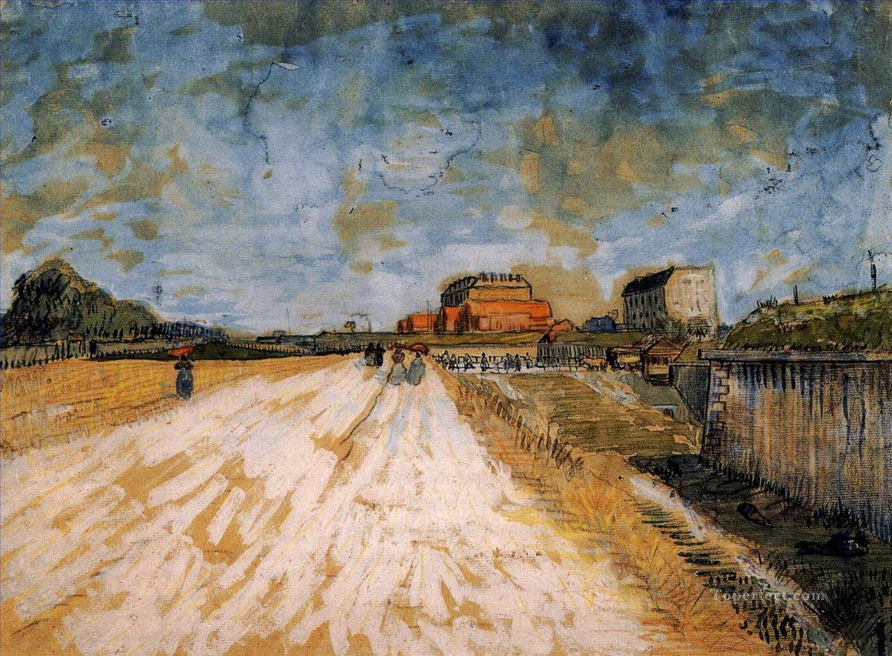 Road Running Beside the Paris Ramparts Vincent van Gogh Oil Paintings