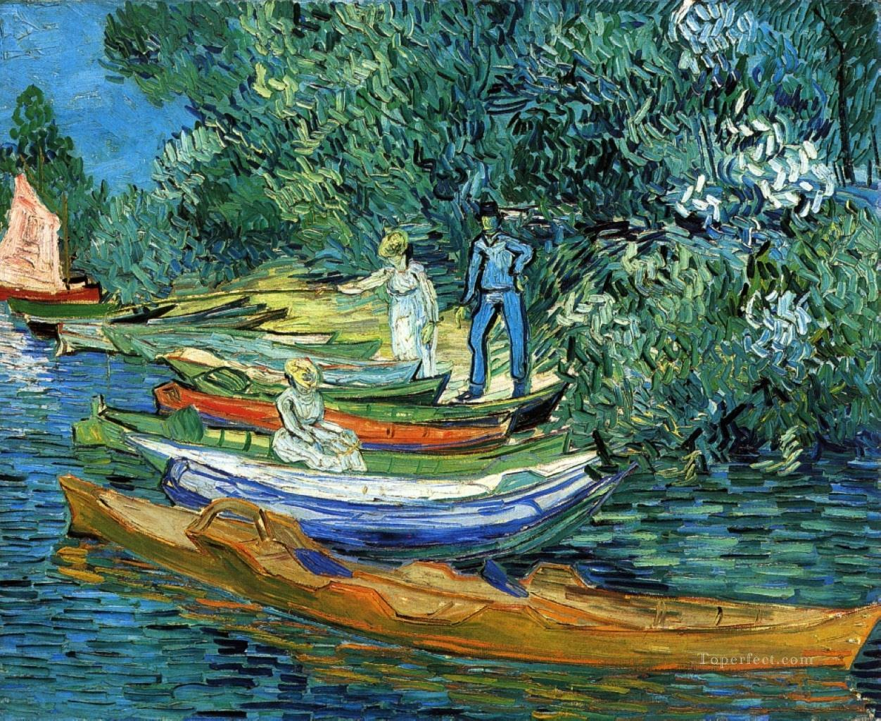 Rowing Boats on the Banks of the Oise Vincent van Gogh Oil Paintings