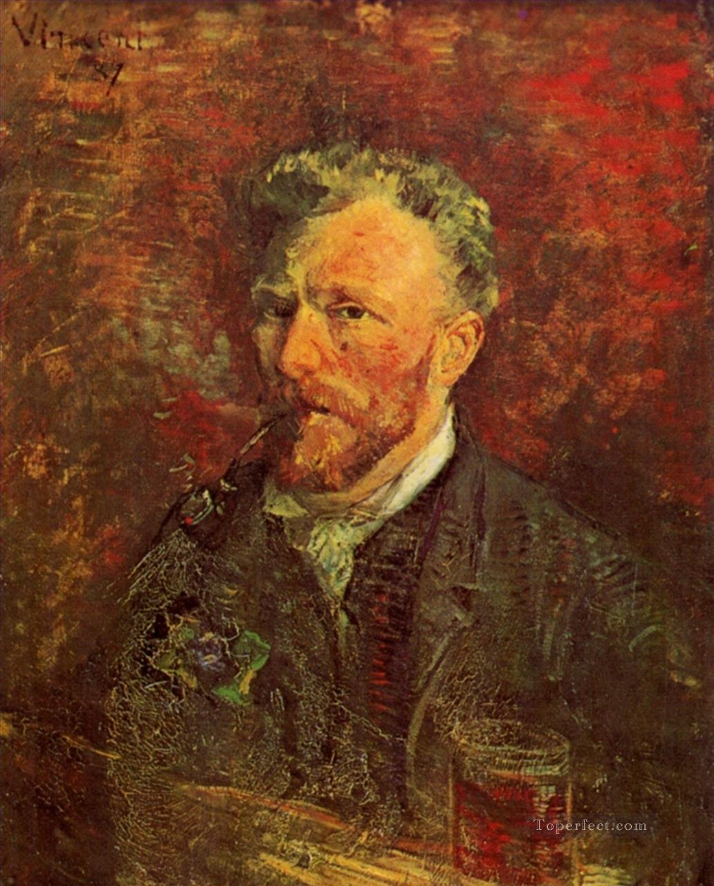 Self Portrait with Pipe and Glass Vincent van Gogh Oil Paintings