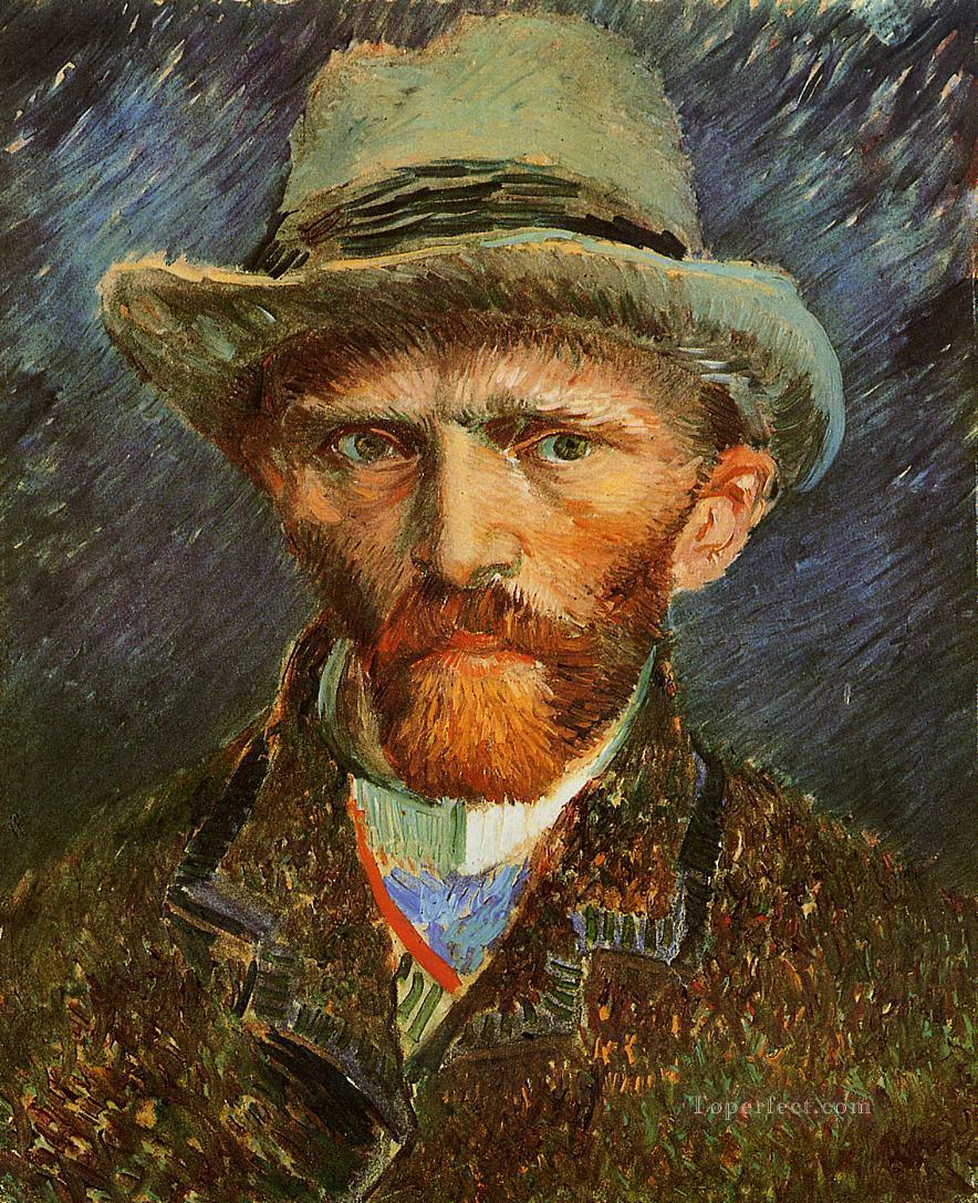 Self Portrait with a Grey Felt Hat Vincent van Gogh Oil Paintings