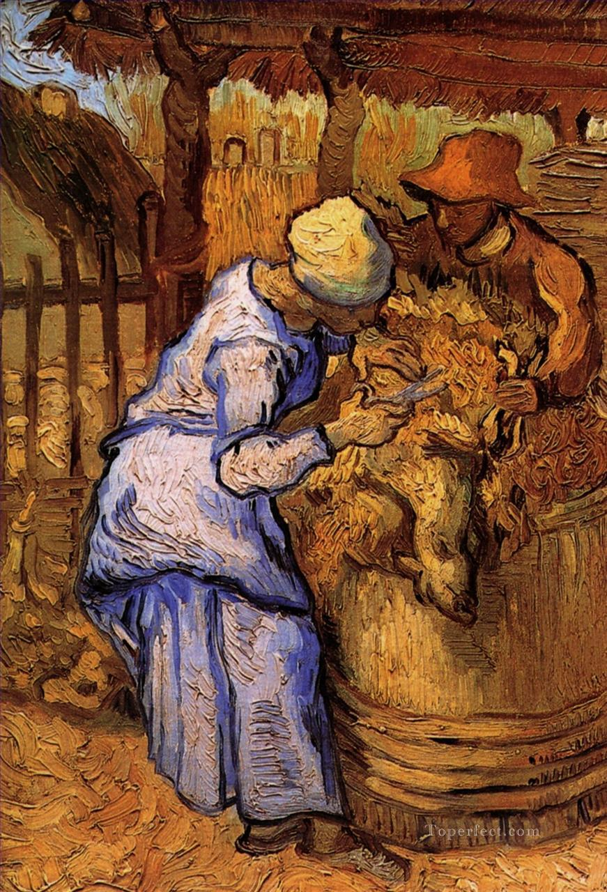 Sheep Shearers The after Millet Vincent van Gogh Oil Paintings