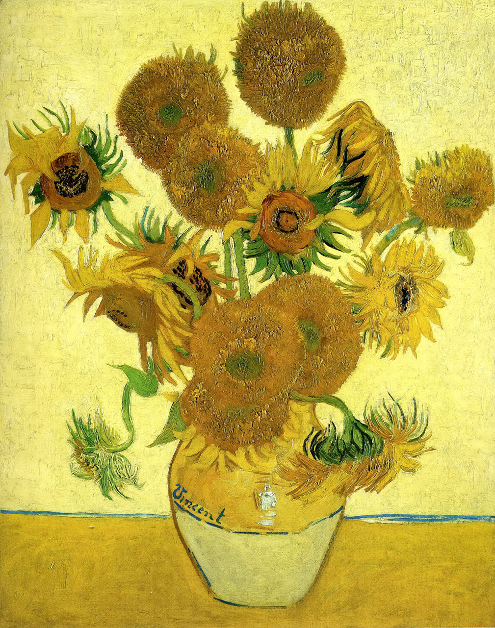 Still Life Vase with Fifteen Sunflowers Vincent van Gogh Oil Paintings