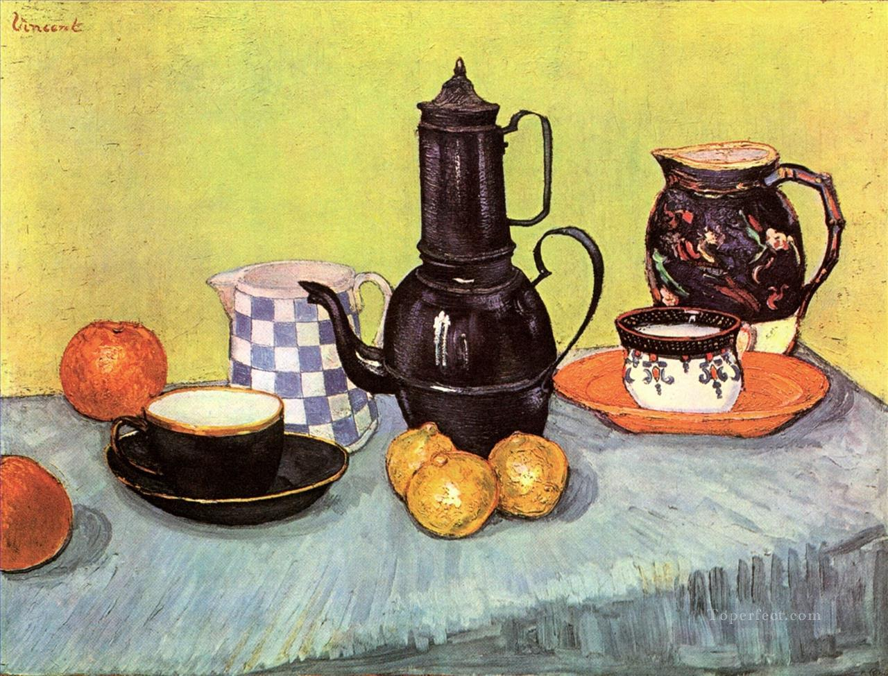 Still Life with Blue Enamel Coffeepot Earthenware and Fruit Vincent van Gogh Oil Paintings