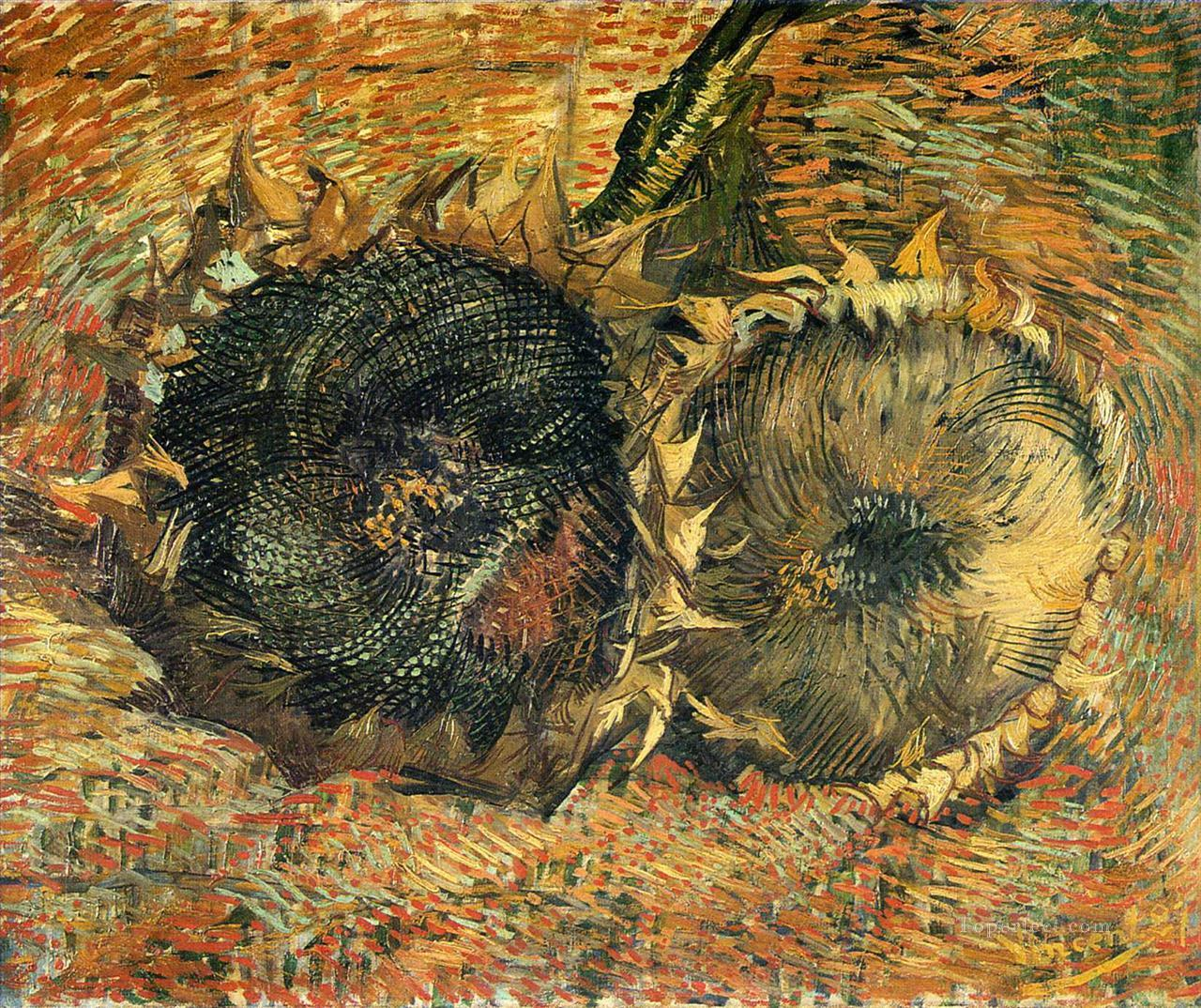 Still Life with Two Sunflowers 2 Vincent van Gogh Oil Paintings