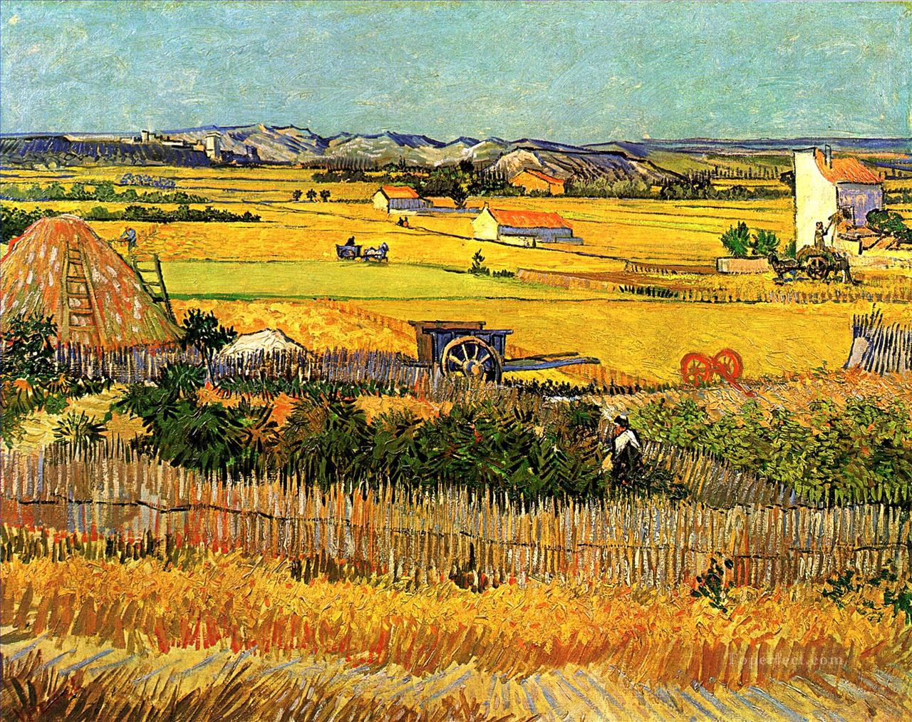Harvest at La Crau with Montmajour in the Background Vincent van Gogh Oil Paintings