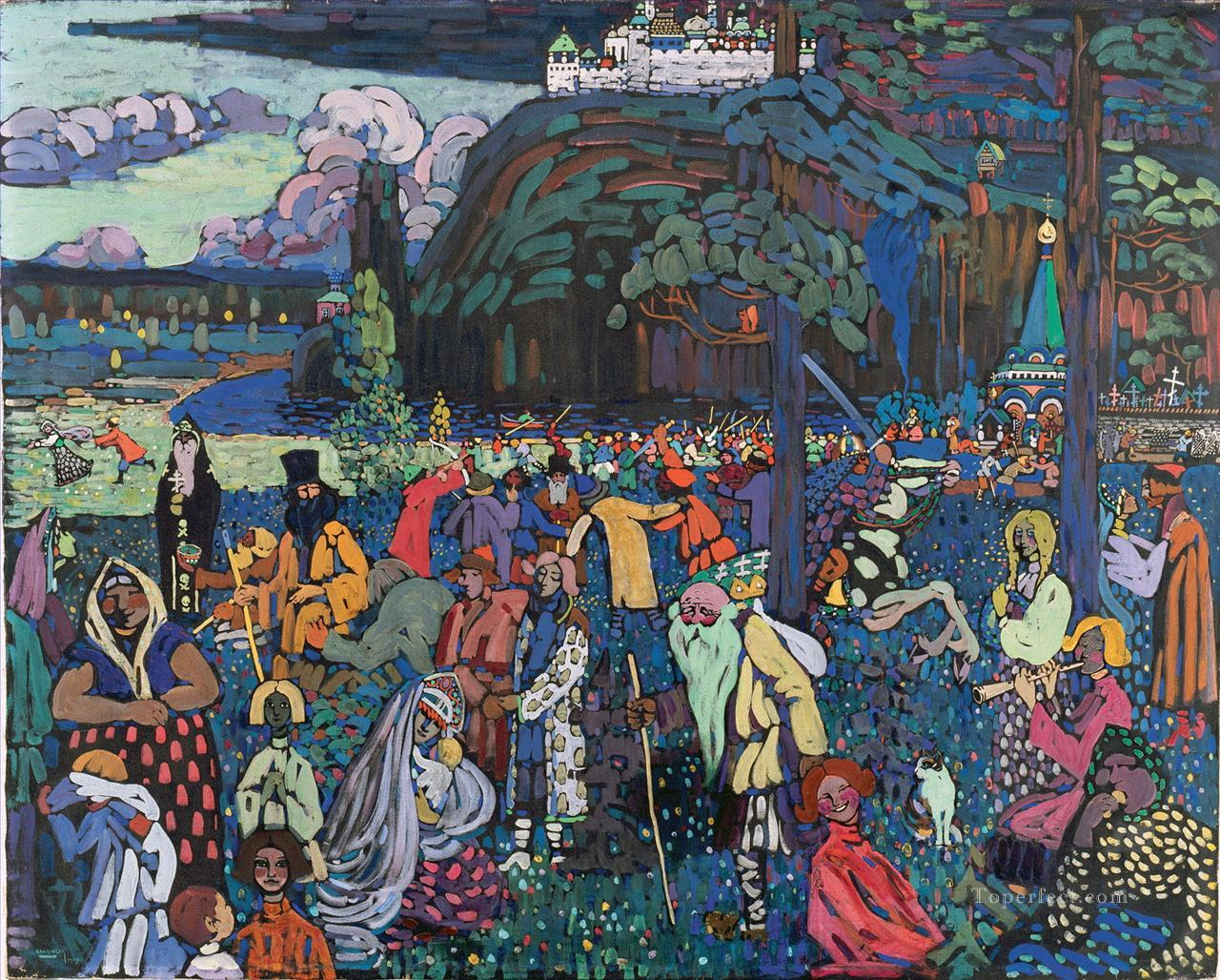 A Motley Life Das Bunte Leben Wassily Kandinsky Painting In Oil For Sale