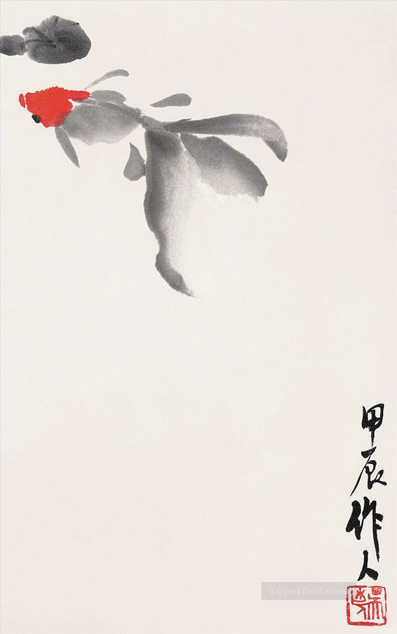 Wu zuoren a goldfish and waterlily old China ink Oil Paintings