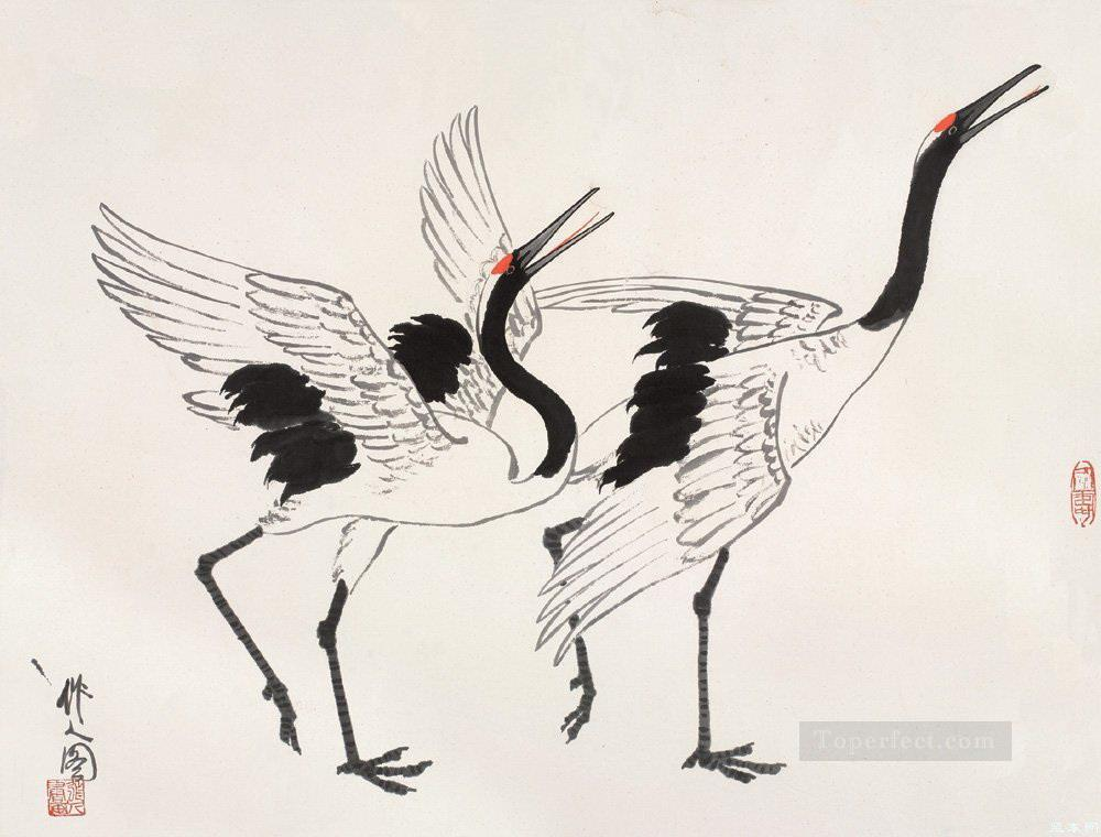 Wu zuoren cranes old China ink Oil Paintings