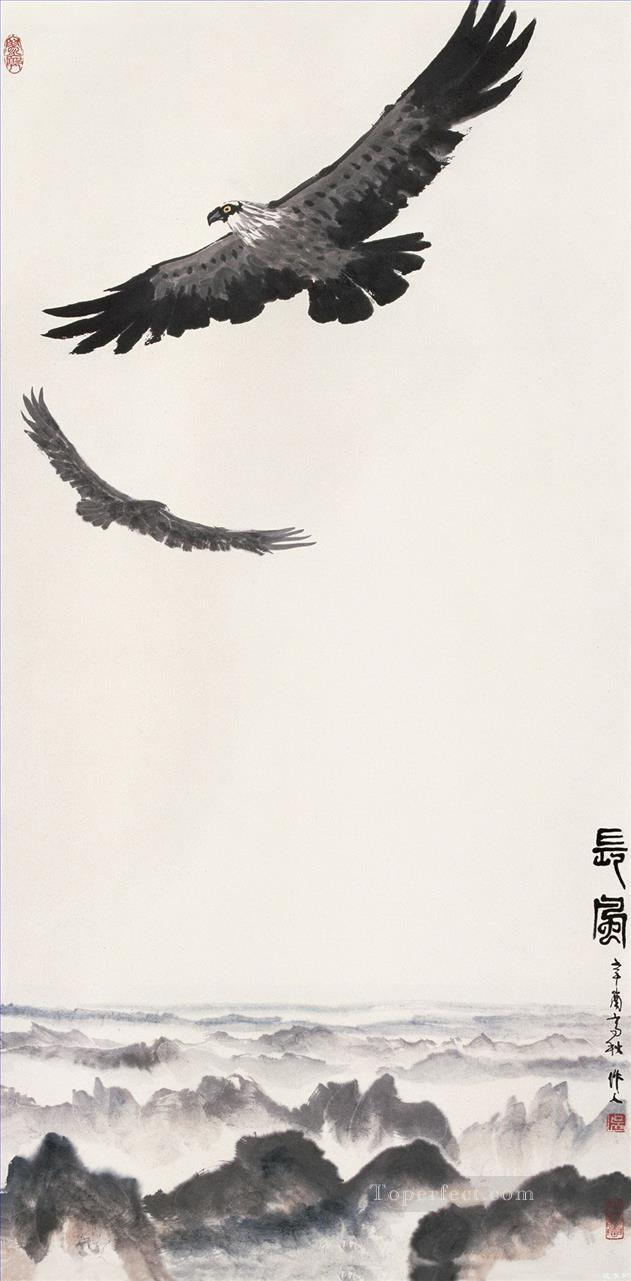 Wu zuoren eagles on mountain old China ink Oil Paintings