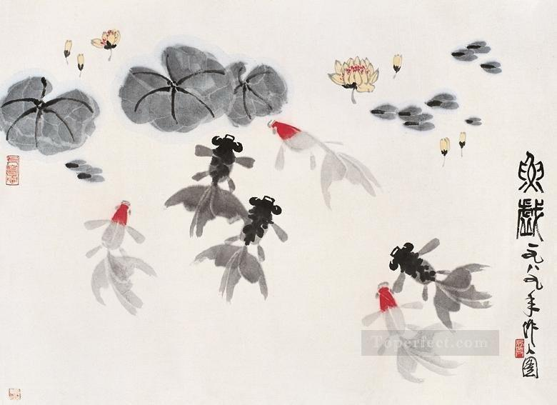 Wu zuoren goldfish in waterlilies old China ink Oil Paintings
