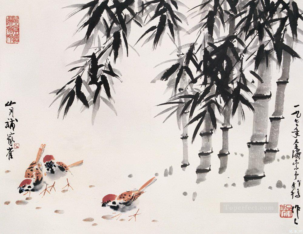 Wu zuoren chicken under bamboo old China ink Oil Paintings