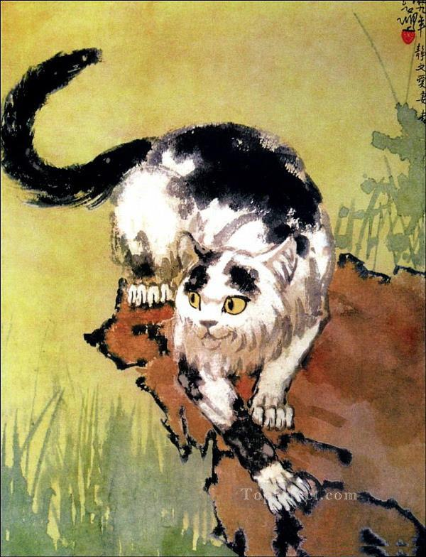 Xu Beihong cat 2 old China ink Oil Paintings