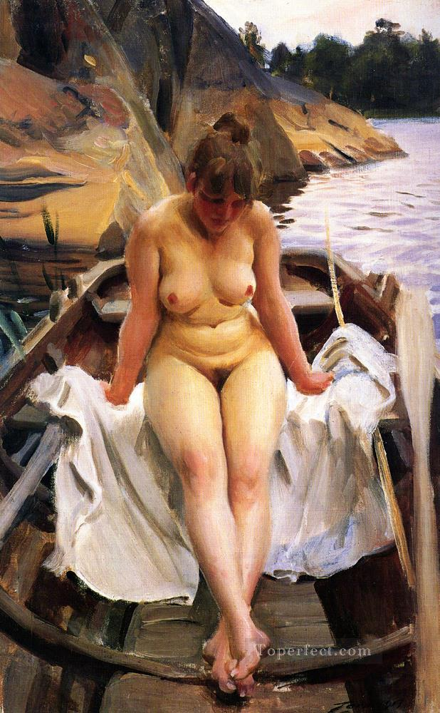 I Werners Eka IN Werners Rowing Boat Anders Zorn Oil Paintings