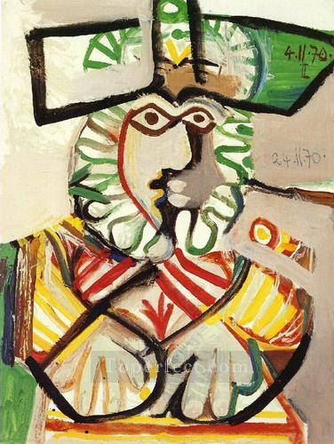 Buste d homme au chapeau 2 1970 Cubism Oil Paintings