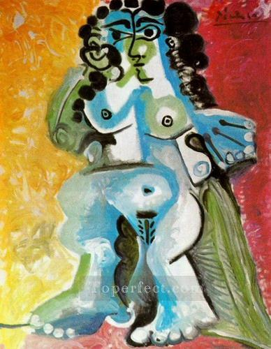Femme nue assise 1965 Cubism Oil Paintings