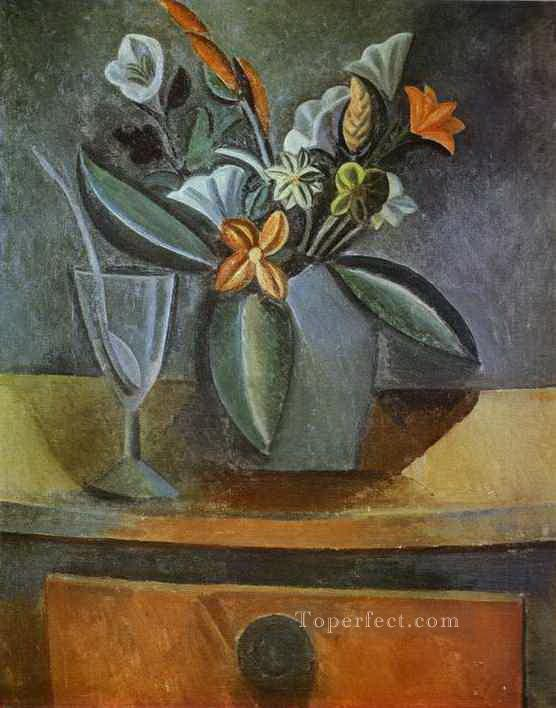 Flowers in a Grey Jug and Wine Glass with Spoon 1908 Cubism Oil Paintings