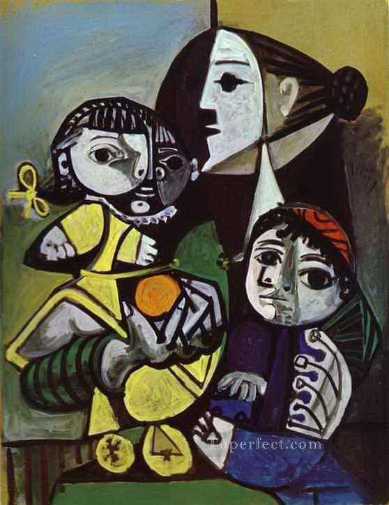 Francoise Claude and Paloma 1951 Cubism Oil Paintings