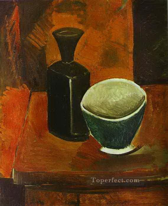 Green Bowl and Black Bottle 1908 Cubism Oil Paintings