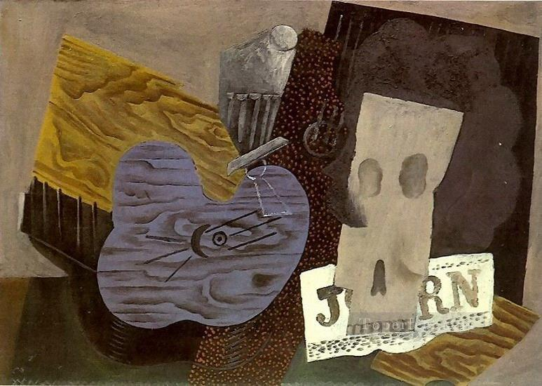 Guitare crane et journal 1913 Cubism Oil Paintings