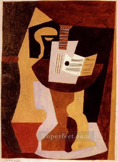 Guitare et partition sur un gueridon 1920 Cubism Oil Paintings