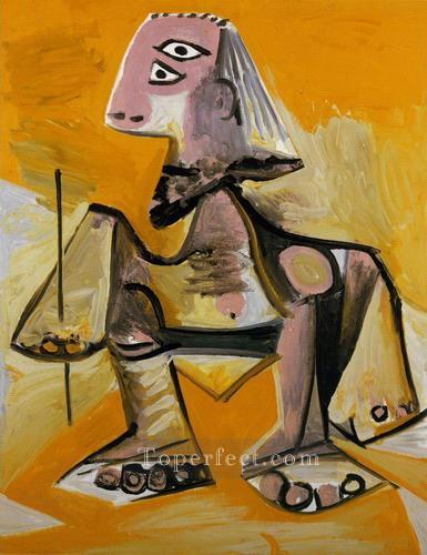 Homme accroupi 1971 Cubism Oil Paintings