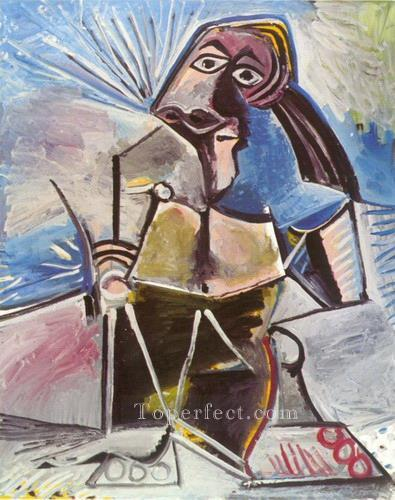 Homme assis 1971 Cubism Oil Paintings