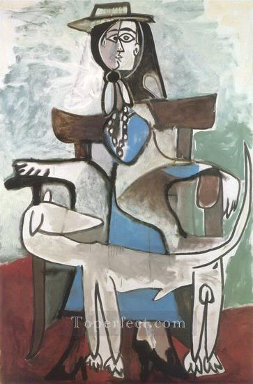 Jacqueline et le chien afghan 1959 Cubism Oil Paintings