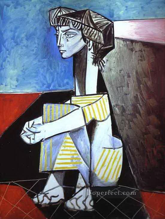 Jacqueline with Crossed Hands 1954 Cubism Oil Paintings