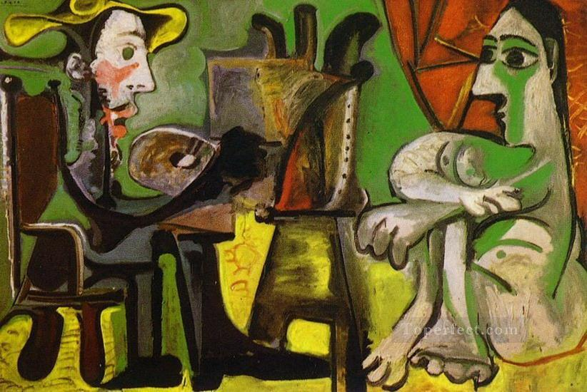 The Artist and His Model L artiste et son modele 4 1964 Cubist Oil Paintings