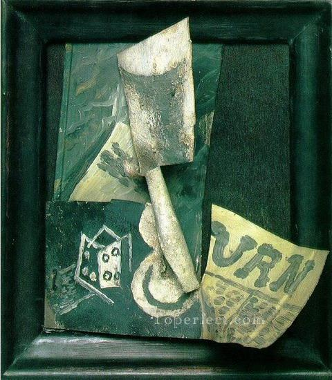 Verre de et journal 1914 Cubist Oil Paintings