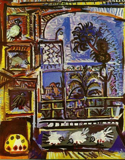 L atelier Les pigeons IIII 1957 Cubist Oil Paintings