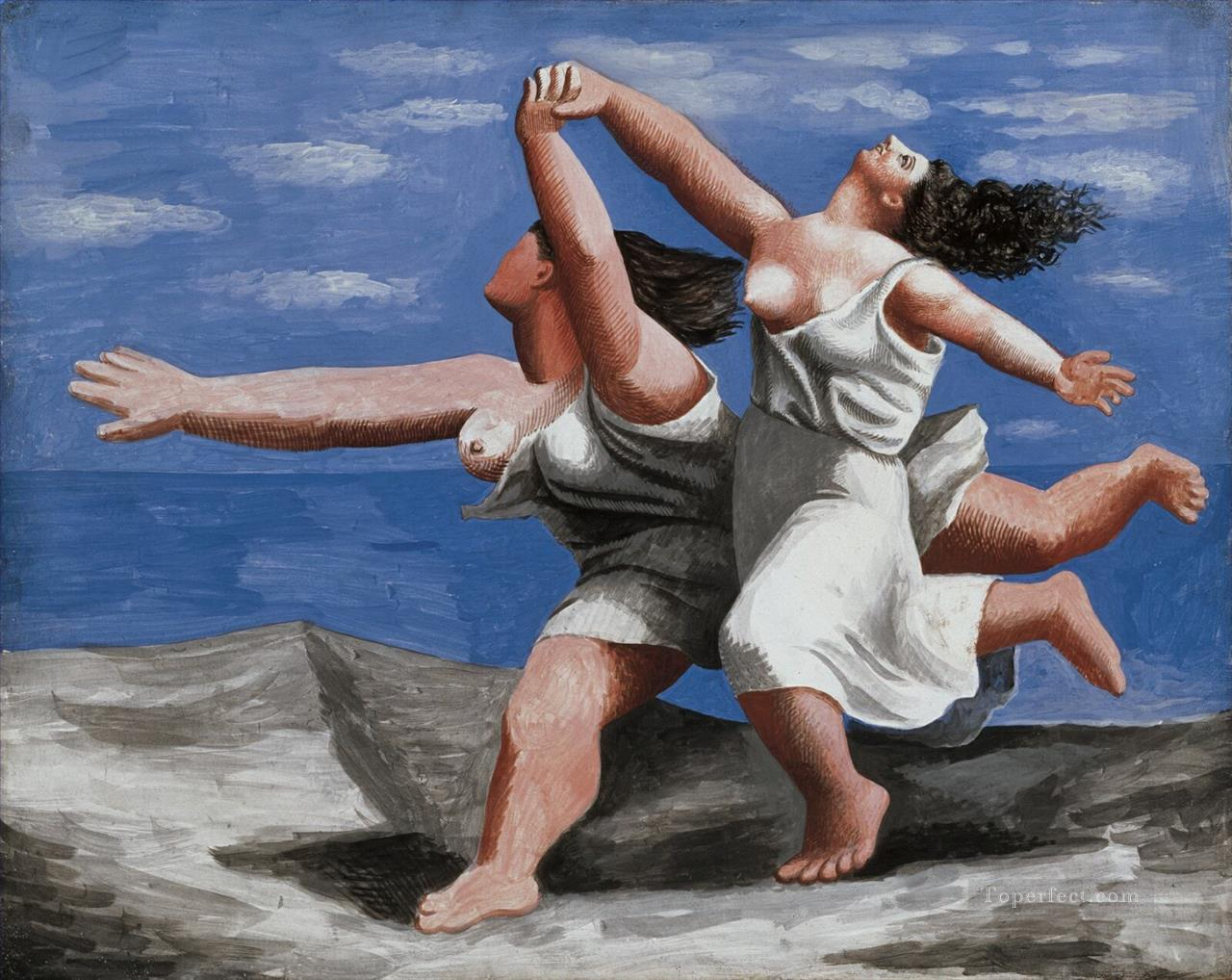 Women Running on the Beach 2 Cubists Oil Paintings